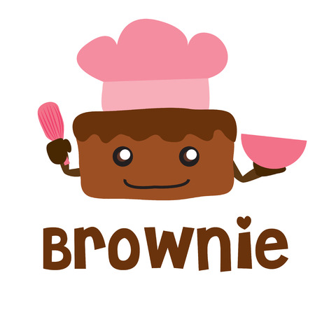 brownie: brownie vector cartoon cute sweet chef cook Illustration