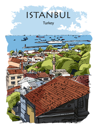 VIEW TO THE SEA OF MARMARA AND HARBOR, ISTANBUL, TURKEY: Panoramic view to the sea from the hills. Hand drawn sketch, illustration. Poster, calendar, postcard
