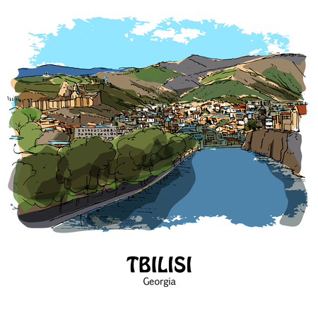 TBILISI (TIFLIS), GEORGIA, NORTH CAUCASUS: Panoramic view to the old Tbilisi and Mtkvari river (Kura). Hand drawn sketch, illustration. Poster, postcard, calendar