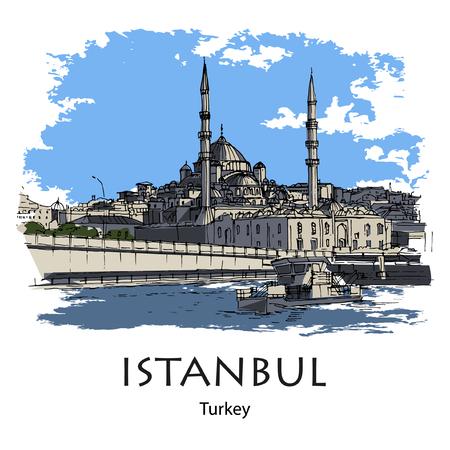 GALATA BRIDGE AND NEW MOSQUE, ISTANBUL, TURKEY - Galata bridge and New Mosque. Hand created sketch plus vector. Postcard
