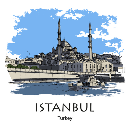 GALATA BRIDGE AND NEW MOSQUE, ISTANBUL, TURKEY - Galata bridge and New Mosque. Hand created sketch plus vector. Postcard