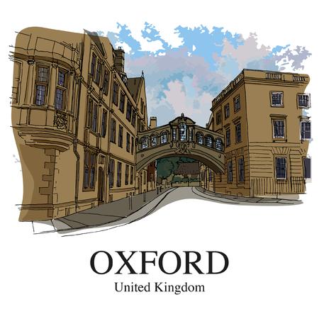 """OXFORD, Reino Unido: Hertford Bridge, muitas vezes chamado de """"Ponte dos Suspiros"""". Esboço desenhado de mão Foto de archivo - 94351205"""
