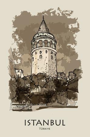 GALATA TOWER, ISTANBUL, TURKEY: Galata tower (Galata Kulesi), hand drawn sketch. Postcard, poster, calendar Ilustração