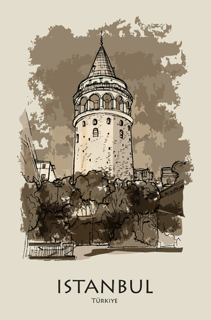 GALATA TOWER, ISTANBUL, TURKEY: Galata tower (Galata Kulesi), hand drawn sketch. Postcard, poster, calendar Illustration