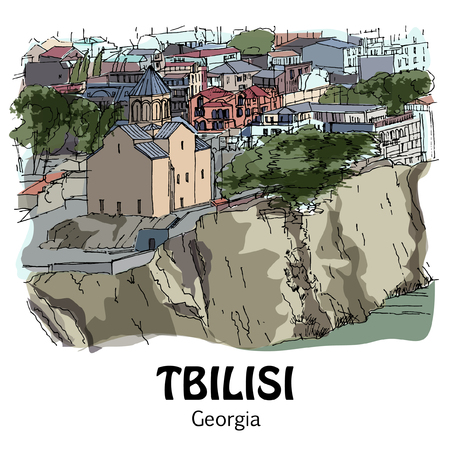 TBILISI (TIFLIS), GEORGIA, NORTH CAUCASUS: Panoramic view to the city. Hand drawn sketch, illustration. Poster, postcard, calendar Ilustração