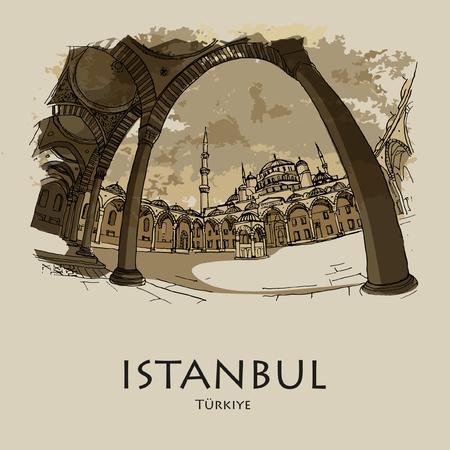 ISTANBUL, TURQUIE: Mosquée bleue (Sultanahmet Camii). Croquis dessiné à la main. Affiche, carte postale, calendrier