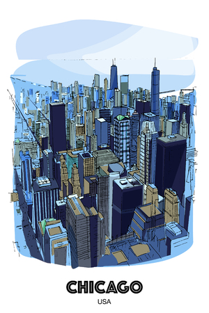 CHICAGO, USA: View to the city and lake from Willis Tower. Hand drawn sketch