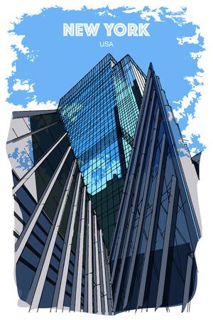 NEW YORK, USA: Skyscrapers. Hand drawn sketch. Poster, postcard, calendar Ilustração