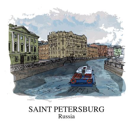 SAINT PETERSBURG, RUSSIA: View to Fontanka river. Hand drawn sketch. Poster, postcard, calendar Ilustração