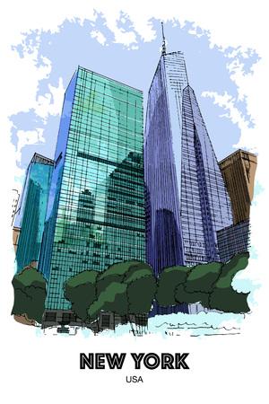 Nova York, EUA: arranha-céus ao redor do Parque Bryant. Esboço desenhado de mão Ilustración de vector