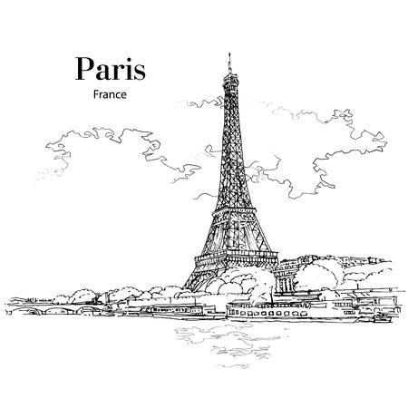 VIEW TO EIFFEL TOWER, PARIS, FRANCE, hand drawing sketch. Vector, poster, calendar, post card Ilustração