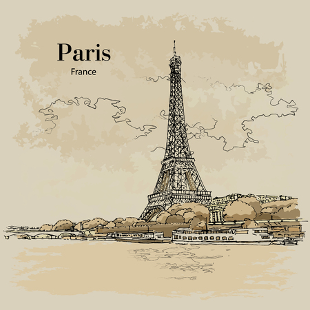 VIEW TO EIFFEL TOWER, PARIS, FRANCE, hand drawing sketch. Vector, poster, calendar, post card Illustration