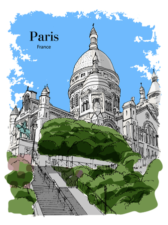 BASILICA SACRE COEUR, PARIS, FRANCE: View to Basilica Sacre Coeur at Montmartre. Hand drawn sketch. Post card, poster, calendar. Illustration
