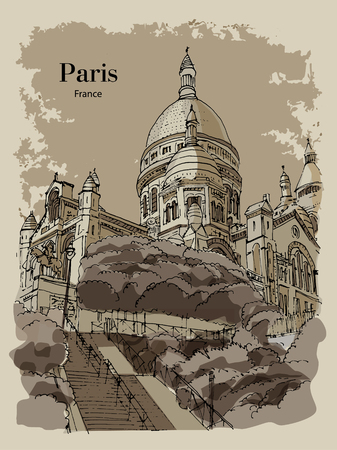 BASILICA SACRE COEUR, PARIS, FRANCE: View to Basilica Sacre Coeur at Montmartre. Hand drawn sketch. Post card, poster, calendar. Illustration