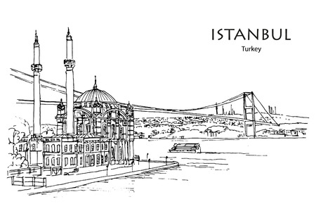 ORTAK?Y MOSQUE ALONG THE BOSPHORUS ISTANBUL TURKEY - Hand drawn sketch Illusztráció
