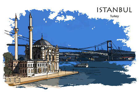 ORTAK?Y MOSQUE ALONG THE BOSPHORUS ISTANBUL TURKEY - Hand drawn sketch Ilustrace