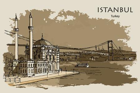 ORTAK?Y MOSQUE ALONG THE BOSPHORUS ISTANBUL TURKEY - Hand drawn sketch Ilustração