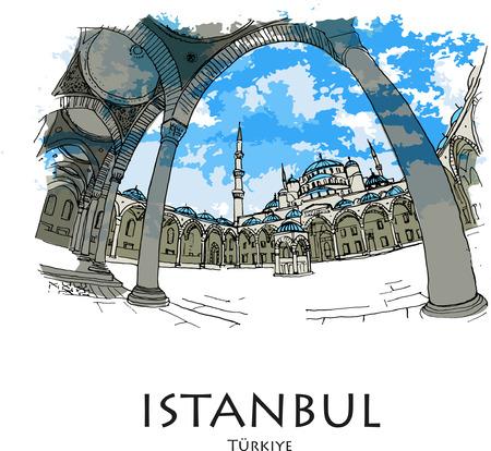 ISTANBUL, TURKEY: Blue Mosque (Sultanahmet Camii). Hand drawn sketch. Poster, postcard, calendar