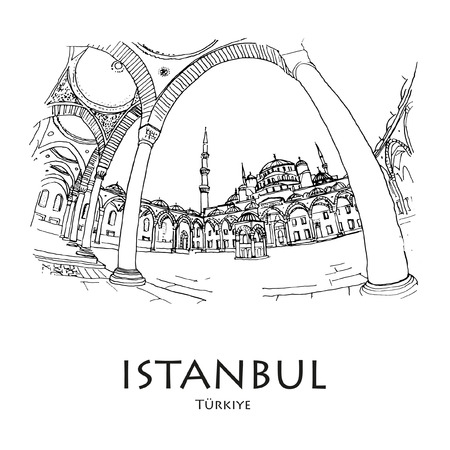 ISTANBUL, TURKEY: Blue Mosque (Sultanahmet Camii). Hand drawn sketch. Poster, postcard, calendar