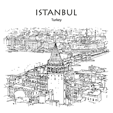 GALATA TOWER AND BRIDGE, ISTANBUL, TURKEY: Panoramic view to Golden Horn. Hand drawn sketch Illusztráció