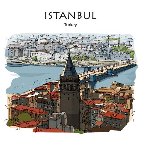 GALATA TOWER AND BRIDGE, ISTANBUL, TURKEY: Panoramic view to Golden Horn. Hand drawn sketch Ilustração