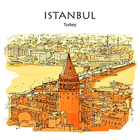 GALATA TOWER AND BRIDGE, ISTANBUL, TURKEY: Panoramic view to Golden Horn. Hand drawn sketch Illustration