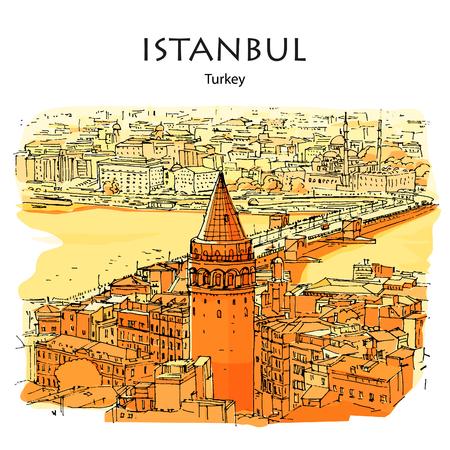 TOUR ET PONT DE GALATA, ISTANBUL, TURQUIE : vue panoramique sur la Corne d'Or. Croquis dessiné à la main