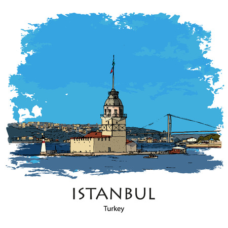 MAIDENS TOWER, KIZ KULESI, ISTANBUL, TURKEY: Panoramic view to Maidens Tower. Hand drawn sketch. Poster, calendar, post card