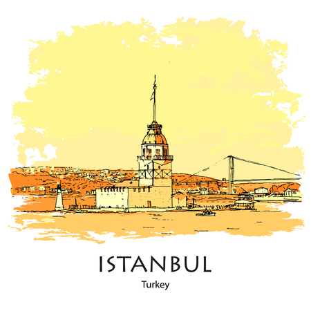 MAIDEN'S TOWER, KIZ KULESI, ISTANBUL, TURKEY: Panoramic view to Maiden's Tower. Hand drawn sketch. Poster, calendar, post card
