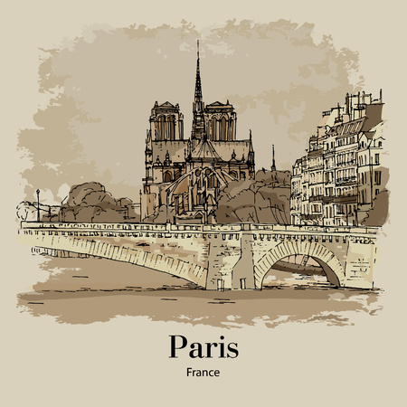 CATHEDRAL NOTRE-DAME DE PARIS, PARIS, FRANCE: Panoramic view of the Cathedral of Paris from Seine. Hand drawn sketch. Poster, calendar, post card
