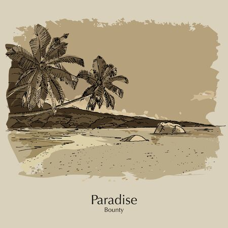 Tropical beach and coast. Hand drawn sketch for poster, calendar, post card