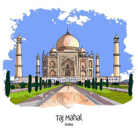Taj Mahal, Agra, India: Panoramic view to mausoleum in the sunset lights. Hand drawn sketch. Postcard, poster. Illusztráció