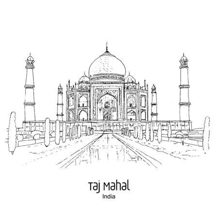 Taj Mahal, Agra, India: Panoramic view to mausoleum in the sunset lights. Hand drawn sketch. Postcard, poster. Stock fotó - 132812698