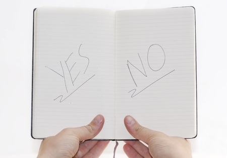 YesNo choices on notepad, white background. photo