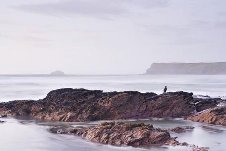 Slow Shutter marin. Vue de Greenaway plage cornwall � Pentire point.