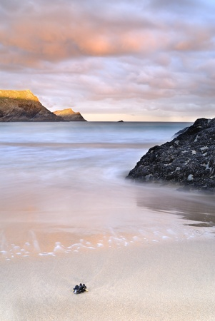 polly: Slow shutter seascape. View from Polly Joke bay Cornwall. Stock Photo