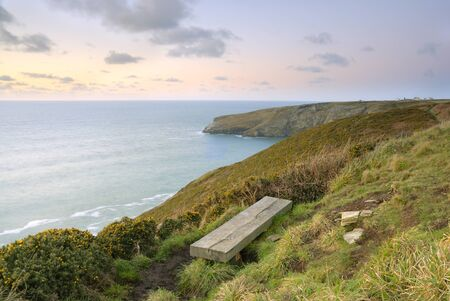 Cornish Seascape looking over the Celtic sea from the South West Coastal Path. Stock Photo