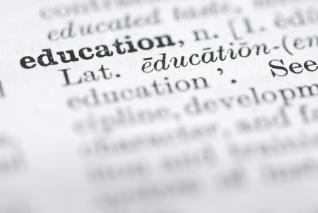 dictionary definition: Shallow dof focus on education in English dictionary.