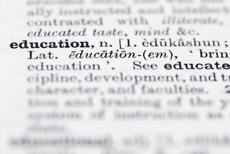 Shallow dof focus on education in English dictionary.