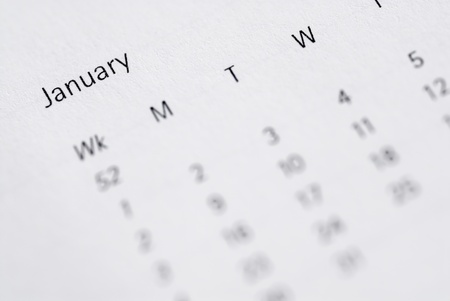Focus on January, month view of diary. photo
