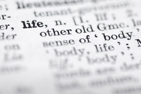 language dictionary: Shallow DOF, focus on life top left cornerl. Stock Photo
