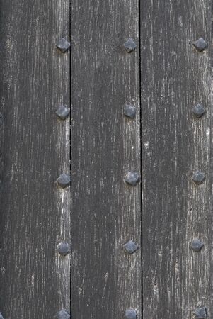 Vertical Texture Photograph of Medieval Church Door. Stock Photo