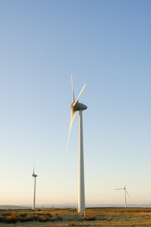 Three wind turbines on a Cornish wind farm, UK.