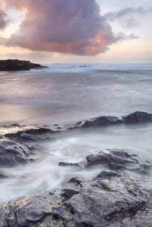 Tomb�e de la nuit Cornish marin, North Cornwall. Banque d'images