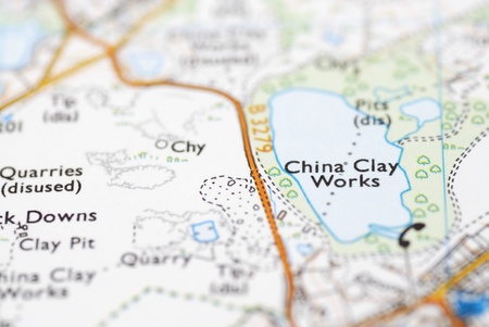 China clay works Cornish attraction on OS map.