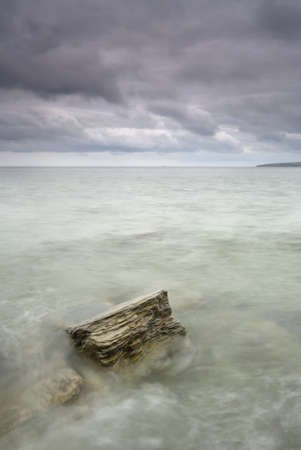Cornwall, UK. Landscape. Slow shutter with motion blur in water. photo