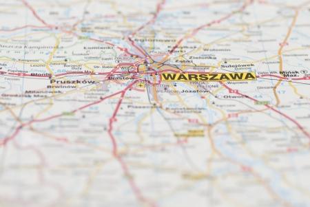 Macro images of Warsaw (Warszawa, Poland) on map.