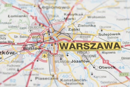 Macro images of Warsaw (Warszawa, Poland) on map.