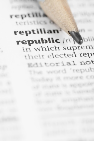 Macro image of dictionary word: Republic and Pencil