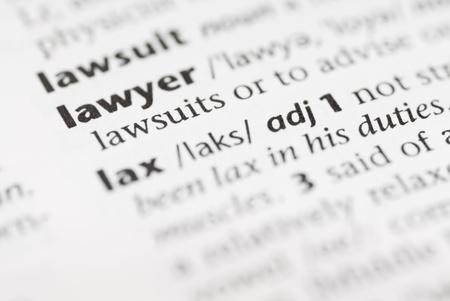 Macro image de mot du dictionnaire: Lawer, et un crayon.